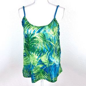 Zara Tropical Green and Blue Palm Tank Top NWT